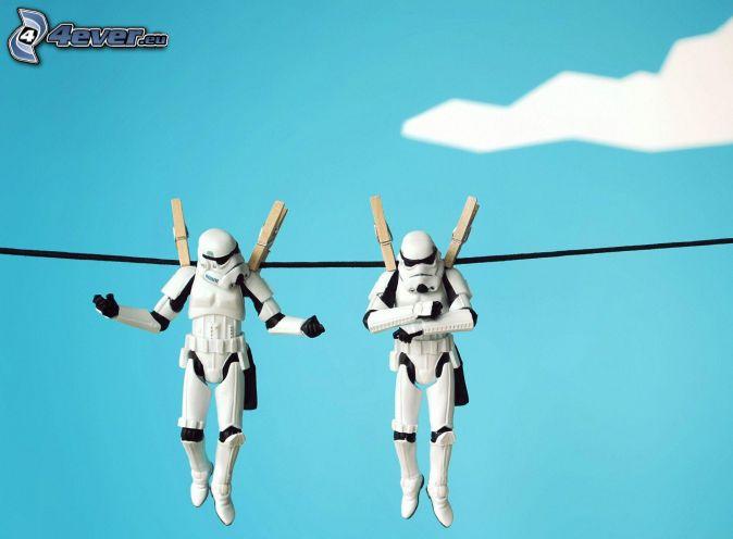 Star Wars, caracteres, clavijas en una cuerda