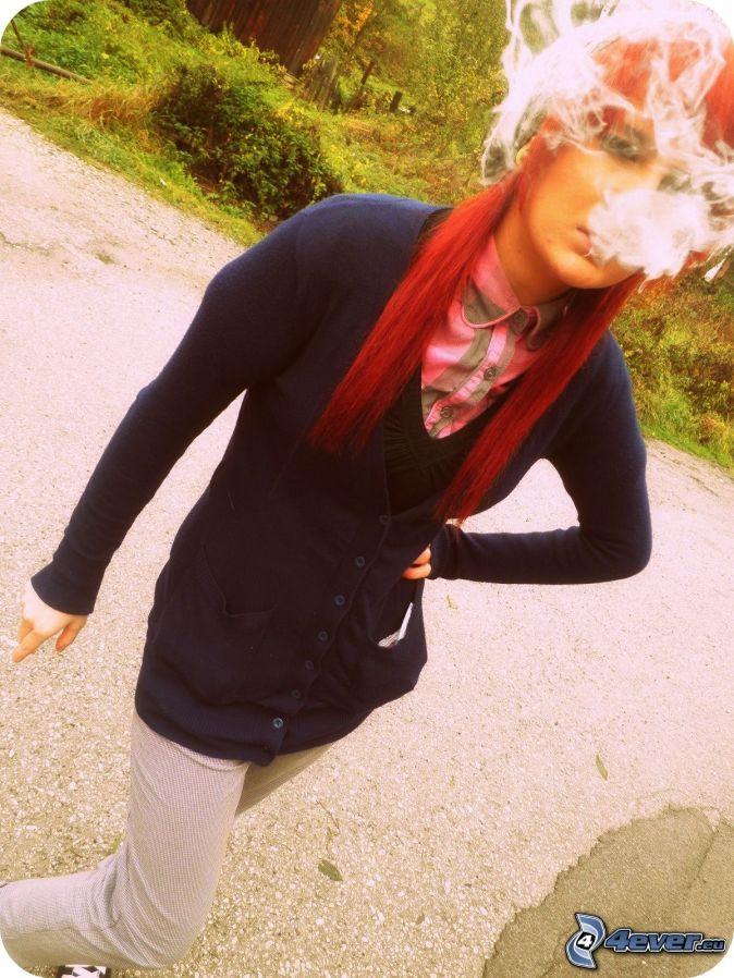 fumar masaje cabello rojo