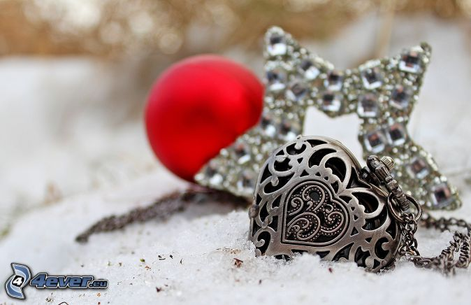 colgante de plata, corazón, estrella, nieve