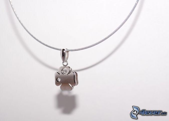 colgante de plata, trébol de cuatro hojas, cadena