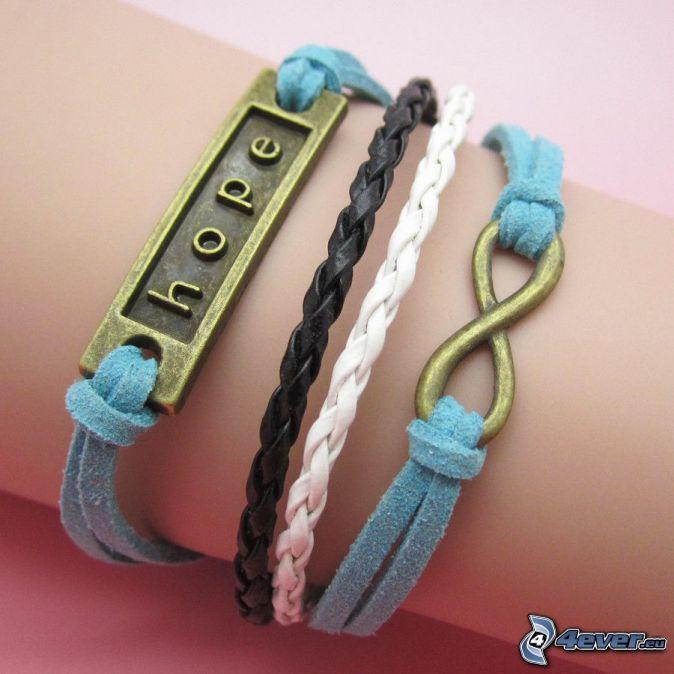 pulseras, esperanza, mano
