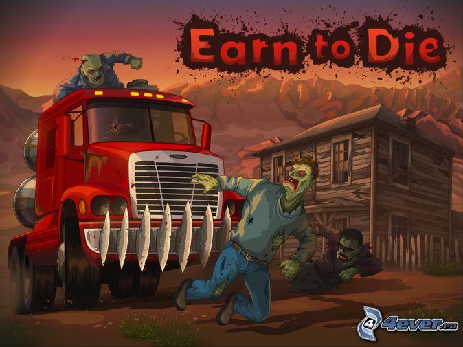 Earn to Die, zombie, camión