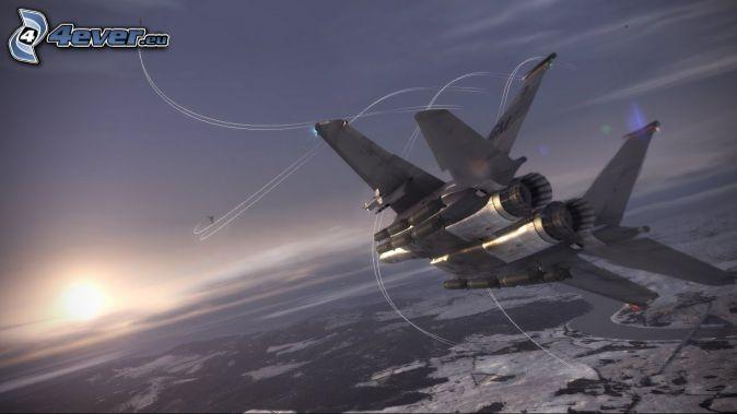 Ace Combat 6, aviones de caza, puesta del sol
