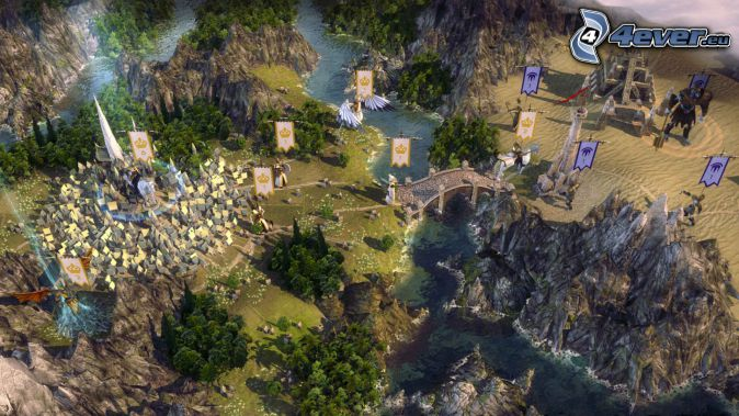 Age of Wonders, paisaje ciencia ficción, puente, banderas