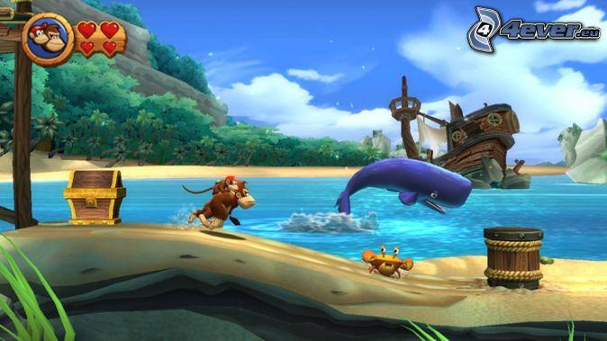 Donkey Kong Country Returns, mono, cangrejo, ballena