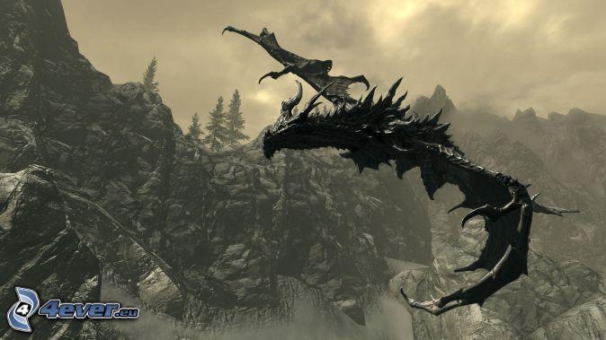 Mazmorra Gris: La legenda de Dragora [ROL] - Página 12 The-elder-scrolls-skyrim,-dragon-volador,-dragon-negro-175747