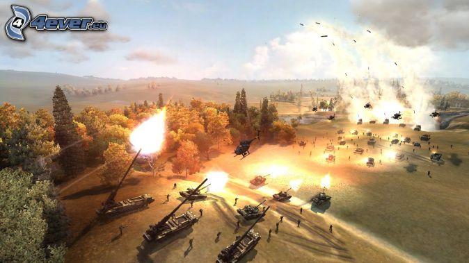 World in Conflict, tanques, disparo, bosques y praderas