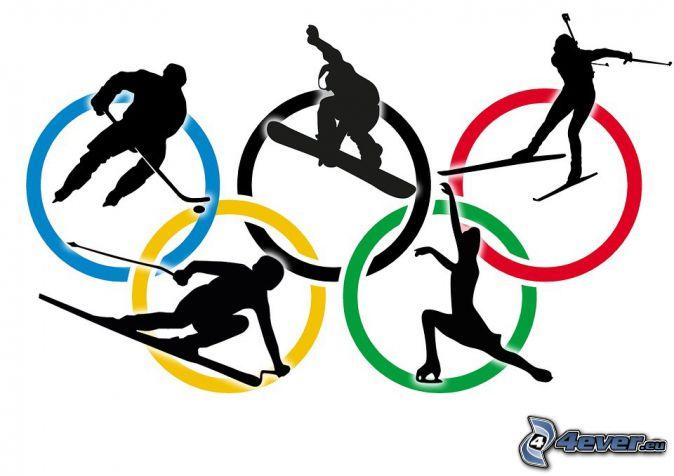 Anillos olímpicos, jugador de hockey, snowbordista, esquiador, patinadora