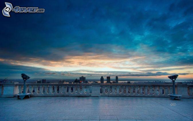 puesta del sol, nubes, terraza