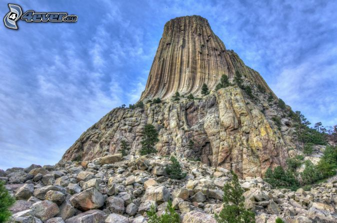 Devils Tower, roca, HDR