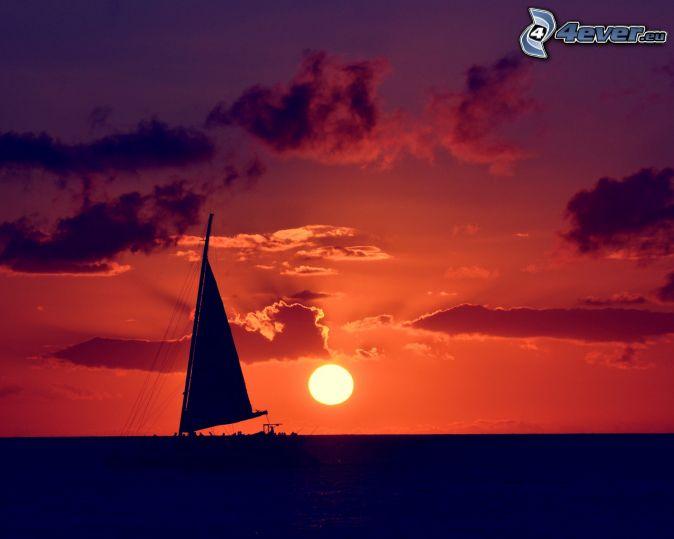 Se va escondiendo el sol Barco-en-el-mar,-puesta-del-sol-204682