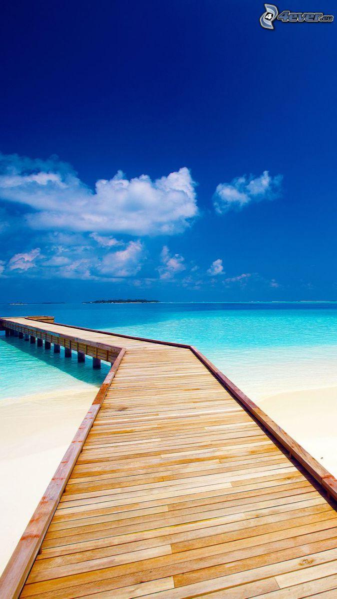 muelle de madera, Alta Mar, playa de arena