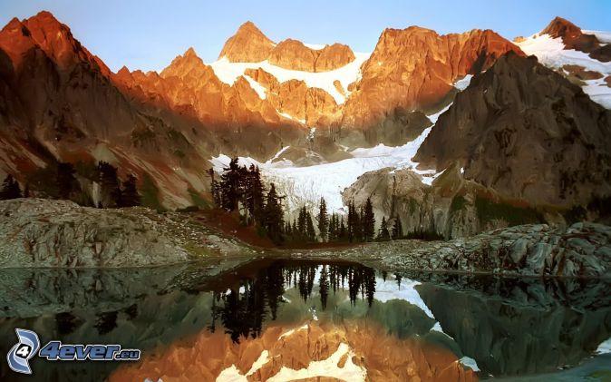 Mount Wilber, lago de montaña, montañas nevadas