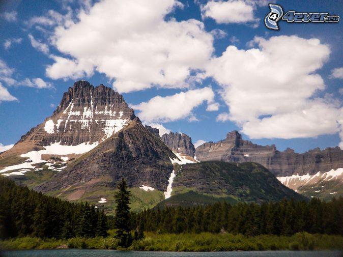 Mount Wilber, montaña rocosa, nubes