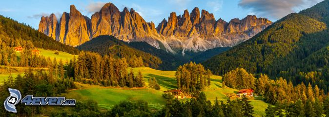Val di Funes, bosques y praderas, montaña rocosa, Italia
