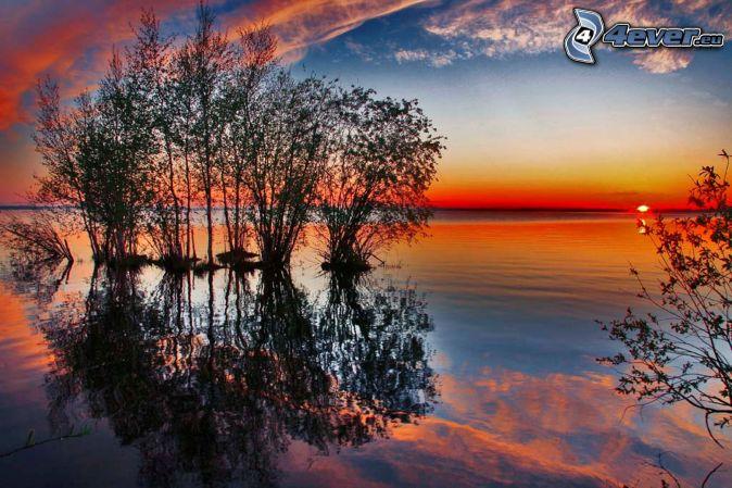 puesta de sol sobre el lago , isleta , agua