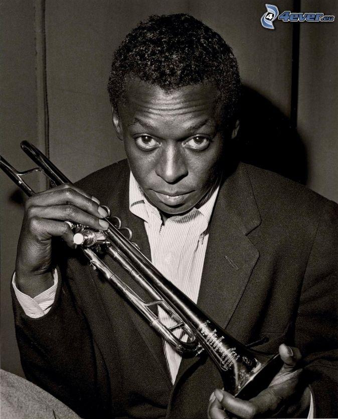 Miles Davis, trompeta, Foto en blanco y negro