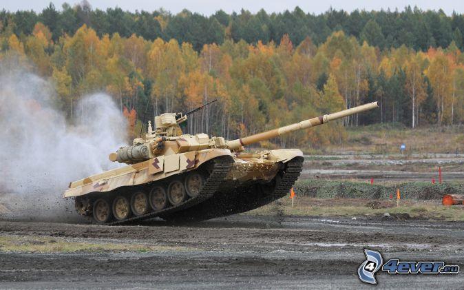 T-90, tanque, bosque de otoño