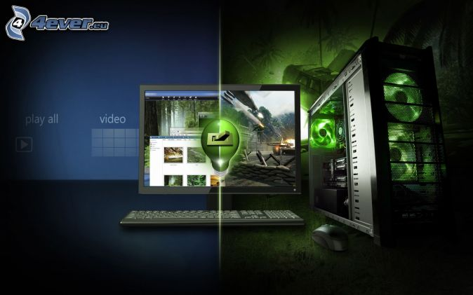 nVidia, ordenador, pantalla, teclado, ratón