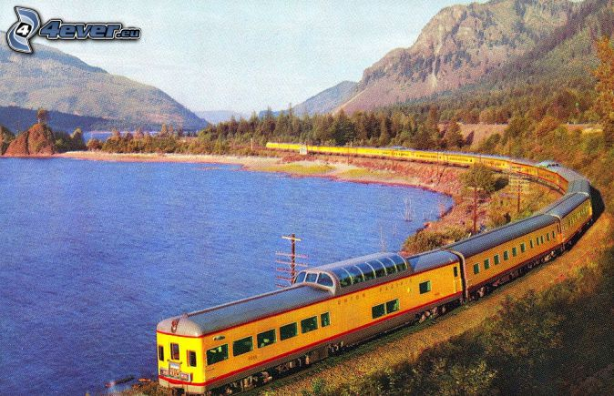 Union Pacific, tren, lago, montañas