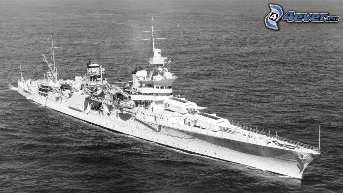 USS Idaho, mar, Foto en blanco y negro