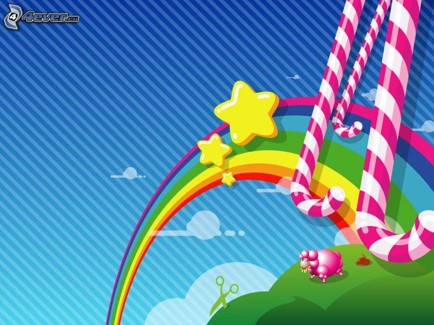 arco iris, estrellas, oveja, tijeras, barra