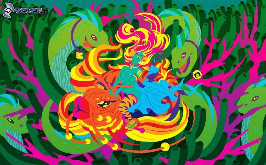 caricatura de mujer, pez, dragón, color