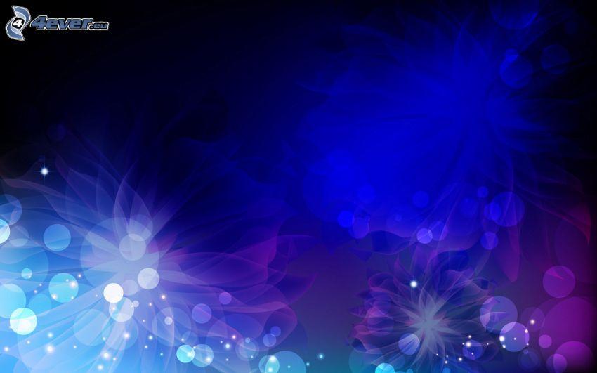 círculos, flores digitales, fondo azul
