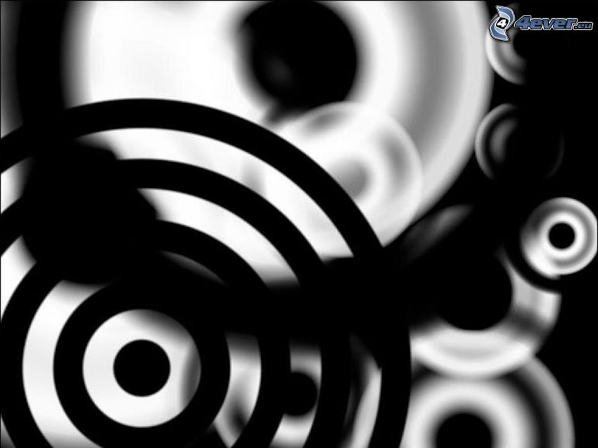 círculos abstractos, Negro, blanco