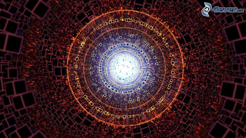 cuadrados, círculos, túnel