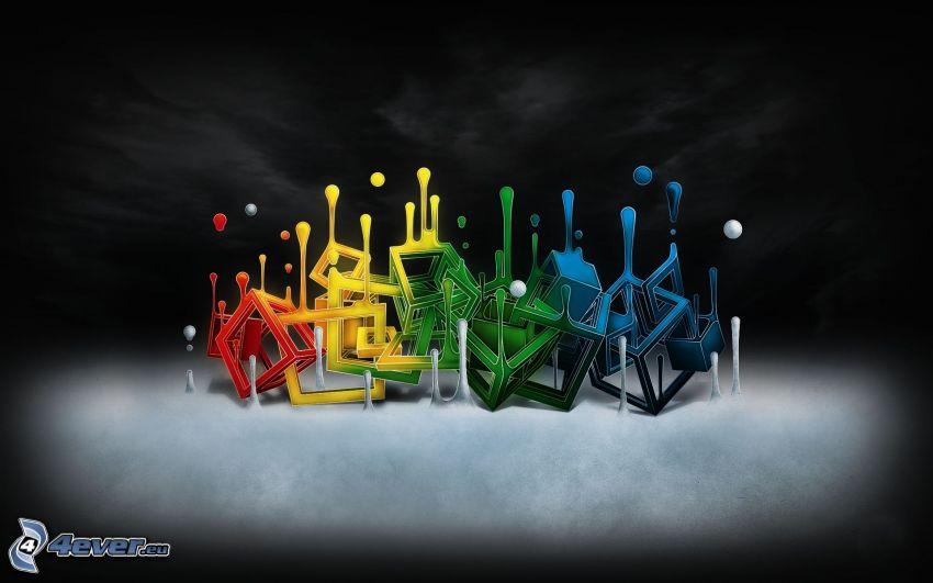 cubos de colores, gotas