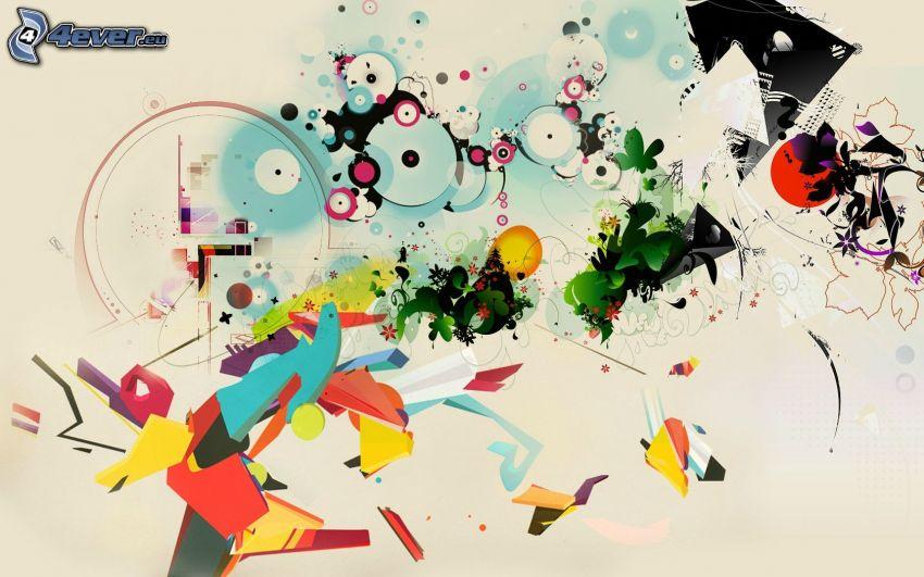 dibujo de pantalla abstracto, círculos, formas