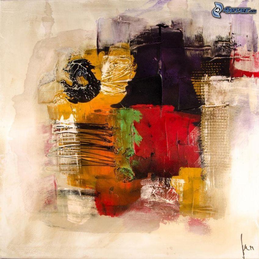 dibujo de pantalla abstracto, manchas de color