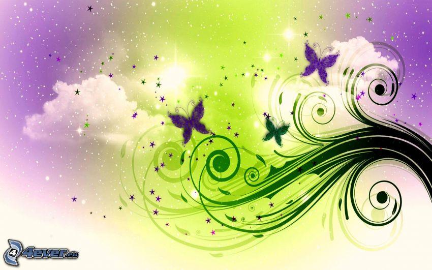 Dibujo de pantalla abstracto for Sfondi con farfalle