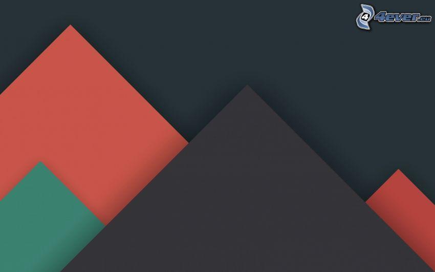dibujo de pantalla abstracto, triángulos, montañas