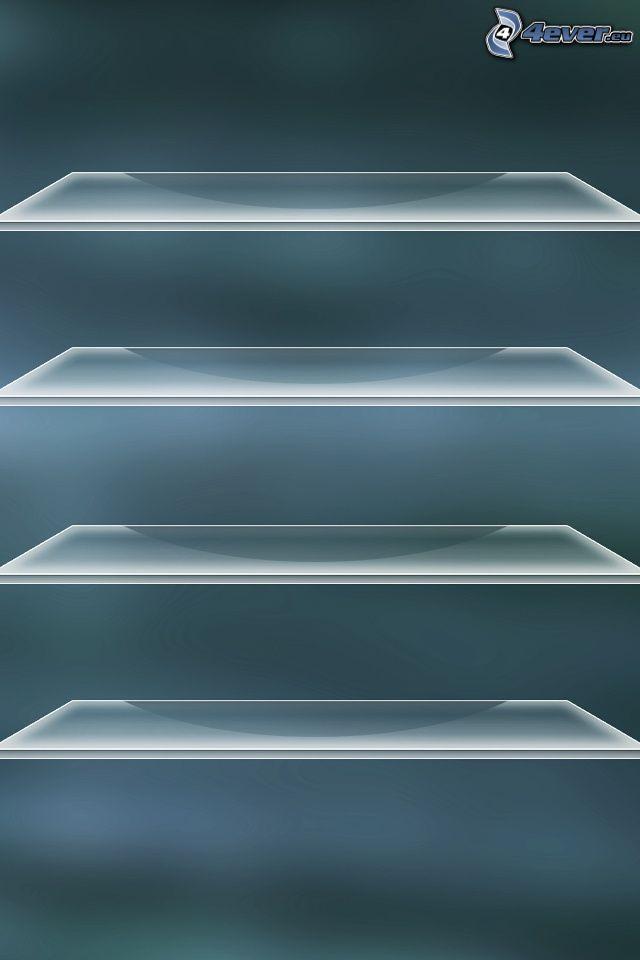 estantes, vidrio