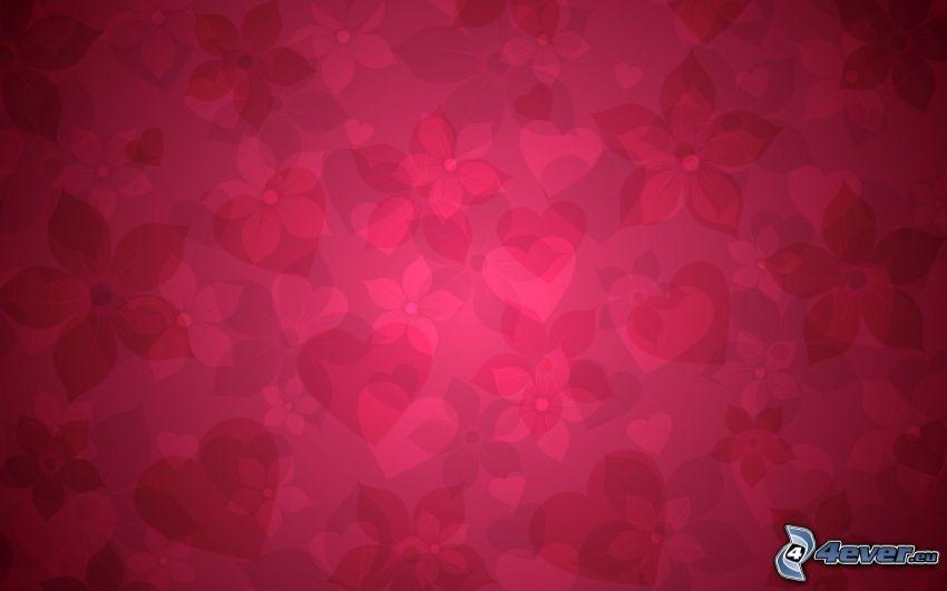 flores, corazones, fondo