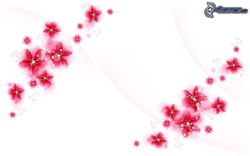 flores abstractas, flores de color rosa
