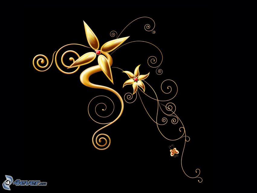flores abstractas, fondo negro