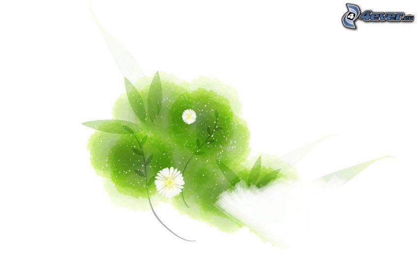 flores blancas, hojas abstractas