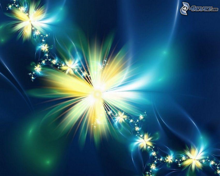 flores digitales, fondo azul, flor