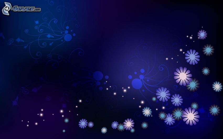 flores digitales, fondo azul