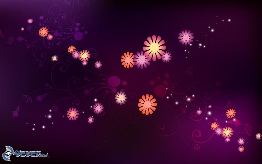 flores digitales, fondo de color rosa