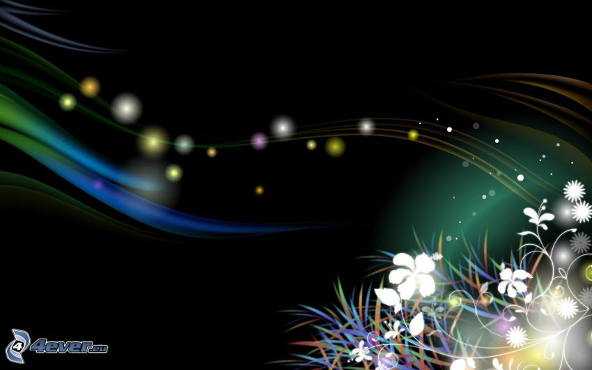 flores digitales, líneas de color, círculos