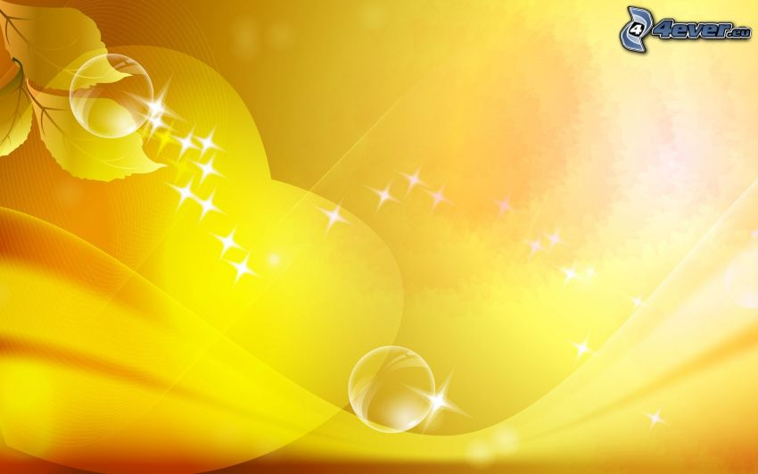 fondo amarillo, círculos, hojas