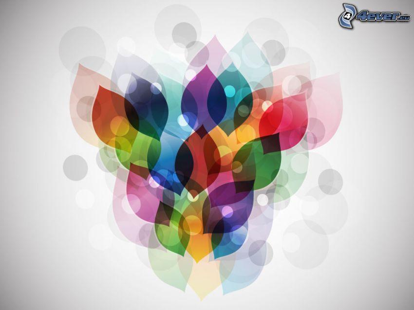 las hojas coloradas, círculos