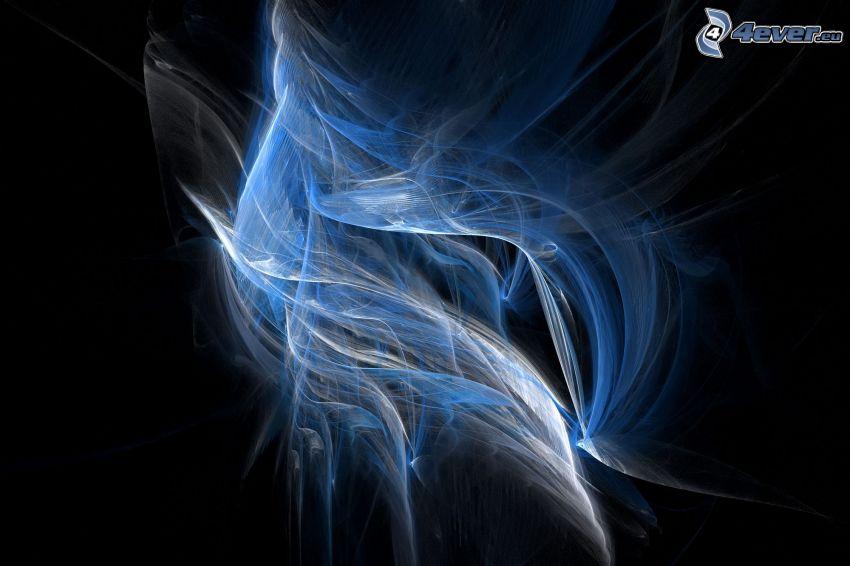 líneas azules, llama, arte digital