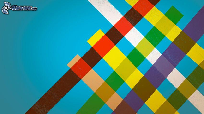 tiras de colores, tablero de ajedrez
