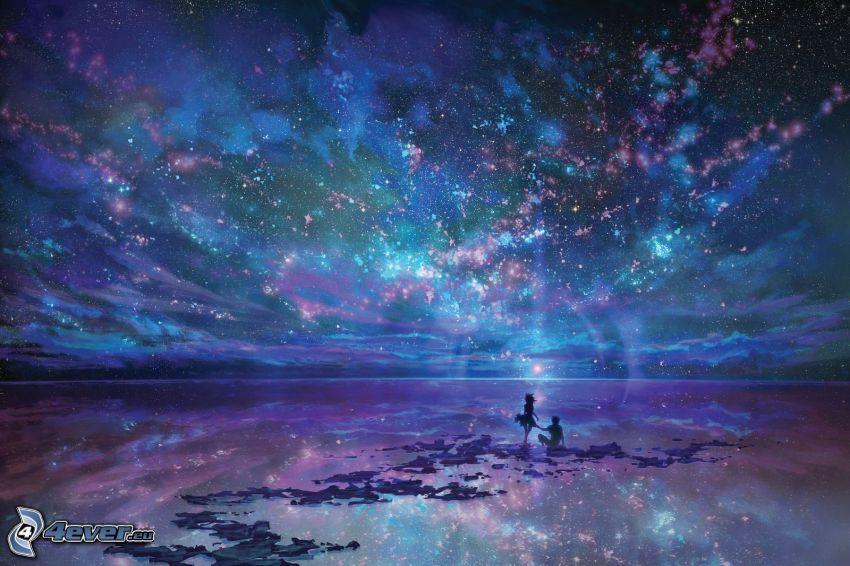 universo, pareja, mar