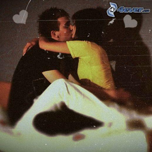 amor, romántica, beso